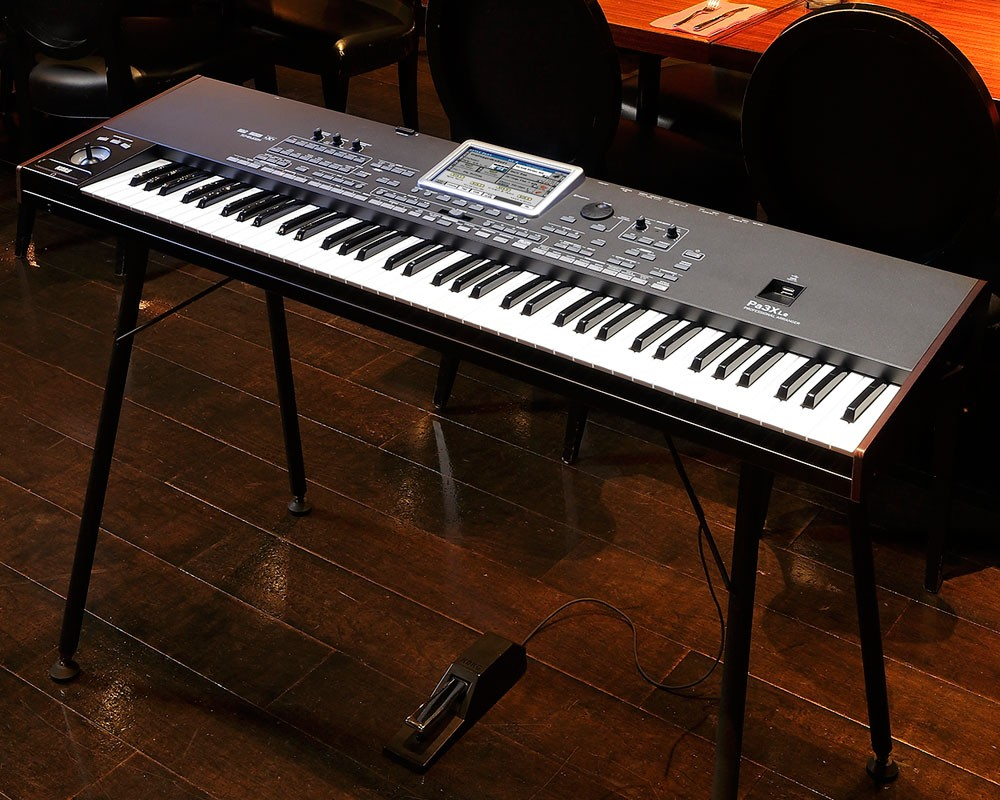 Korg Pa3X on it's stand