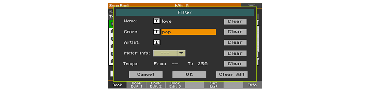 SongBook - Filter