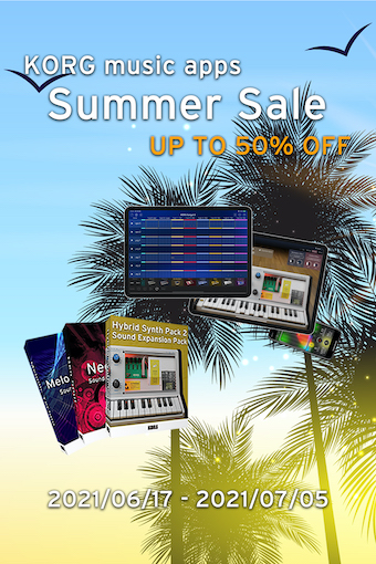 KORG music apps : Summer Sale - all apps are up to 50% OFF!