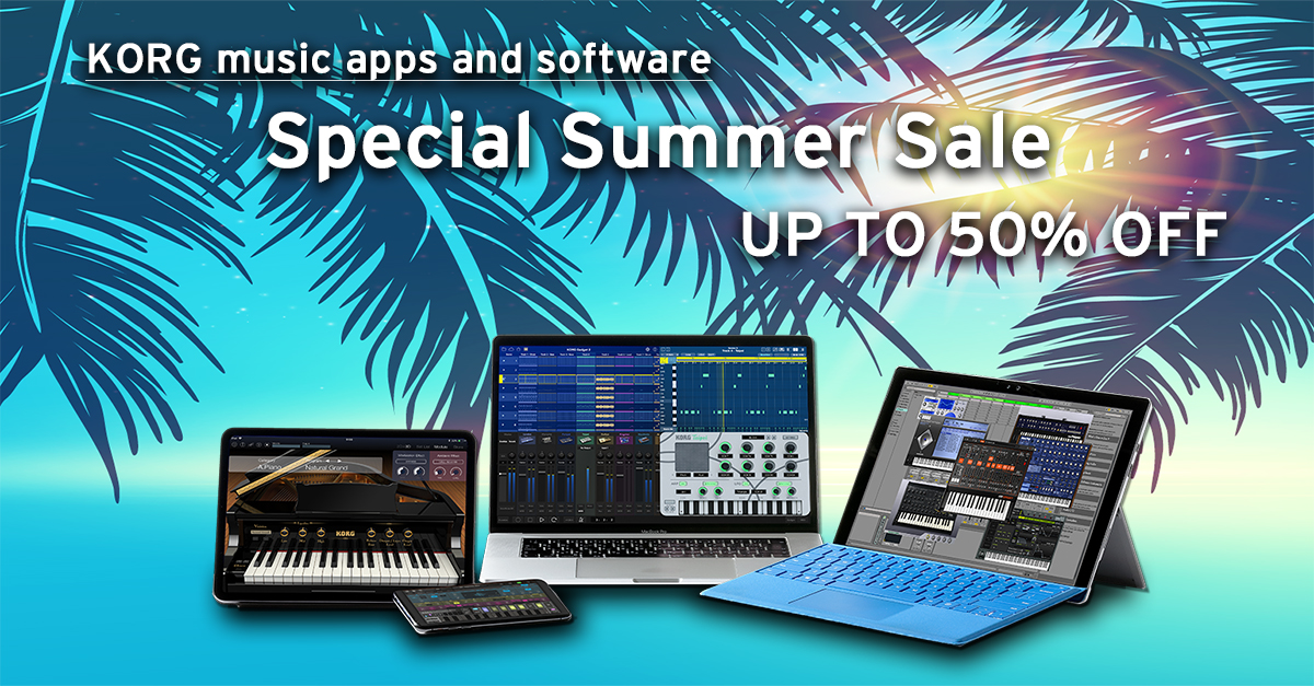 News | KORG music apps software: Special Summer Sale - all products are up to 50% OFF! | KORG (USA)