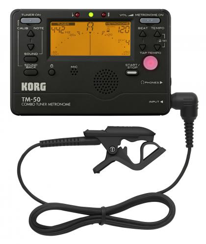 Black TM-50C-BK Korg TM-50C Combo Tuner//Metronome Contact Mic